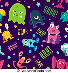 Seamless color children pattern with cute monsters