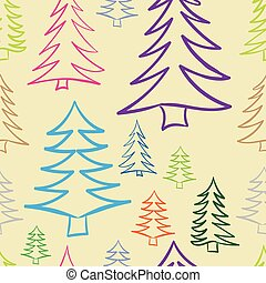 Seamless color contours of fir-trees