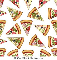 Seamless color pattern of 4 types pizza