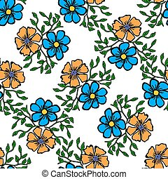 Seamless color pattern with flowers