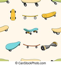 Seamless color pattern with skateboards. Pattern with...