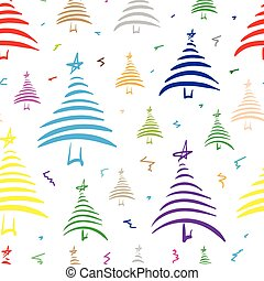 Seamless color stylized fir-trees 2