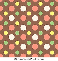 Seamless colored circles on a brown background (chocolate), ice cream wrapper,