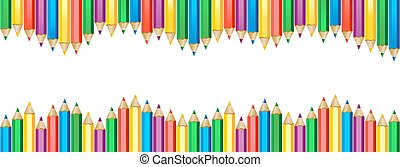 Seamless colored pencils wave row banner. Crayons