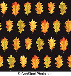 Seamless Colorful Autumn Leaves Background Pattern in Vector