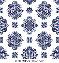 Seamless colorful aztec pattern, vector illustration