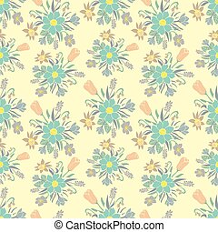 Seamless colorful background with spring flowers. Floral pattern for textile.