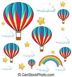 Seamless colorful balloon with rainbow and star pattern
