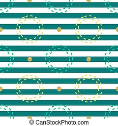 seamless colorful circle with gold dot glitter pattern on stripe background