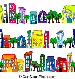 Seamless colorful cityscape borders - Seamless pattern of...