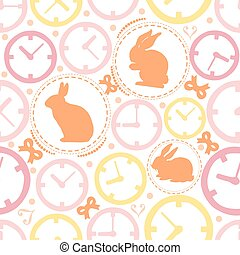 SEAMLESS COLORFUL CLOCK WITH RABBIT PATTERN BACKGROUND , WONDERLAND THEME