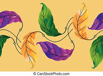 Seamless colorful creative leaves border design