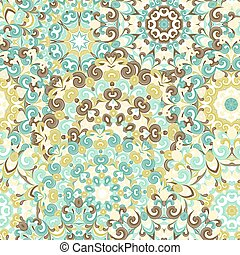Seamless colorful ethnic pattern with mandalas in oriental style. Round doilies with blue, brown, green curls and swirls weaving in arabesque traditional lace ornament. Vector illustration.