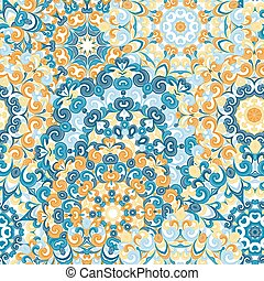 Seamless colorful ethnic pattern with mandalas in oriental style. Round doilies with blue, orange, yellow curls and swirls weaving in arabesque traditional lace ornament. Vector illustration.