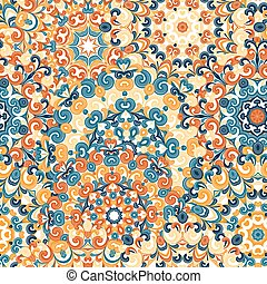 Seamless colorful ethnic pattern with mandalas in oriental style. Round doilies with blue, yellow, orange curls and swirls weaving in arabesque traditional lace ornament. Vector illustration.
