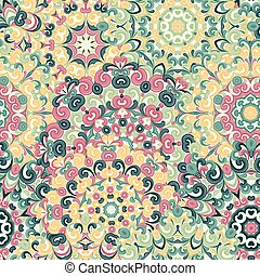 Seamless colorful ethnic pattern with mandalas in oriental style. Round doilies with green, pink, yellow curls and swirls weaving in arabesque traditional lace ornament. Vector illustration.