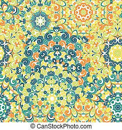 Seamless colorful ethnic pattern with mandalas in oriental style. Round doilies with green, yellow, orange curls and swirls weaving in arabesque traditional lace ornament. Vector illustration.