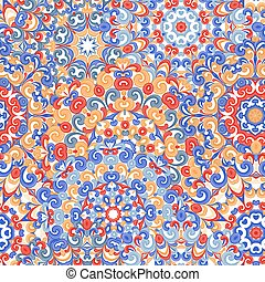 Seamless colorful ethnic pattern with mandalas in oriental style. Round doilies with red, blue, violet, brown curls and swirls weaving in arabesque traditional lace ornaments. Vector illustration.