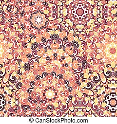 Seamless colorful ethnic pattern with mandalas in oriental style. Round doilies with yellow, orange, brown curls and swirls weaving in arabesque traditional lace ornament. Vector illustration.