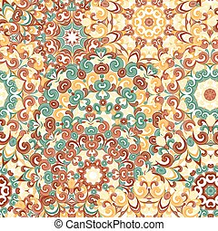Seamless colorful ethnic pattern with mandalas in oriental style. Round doilies with yellow, orange, brown, green curls and swirls weaving in arabesque traditional lace ornament. Vector illustration.