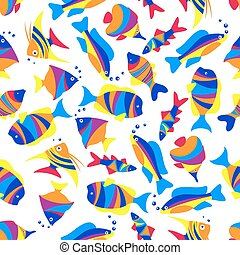 Seamless colorful exotic fishes pattern