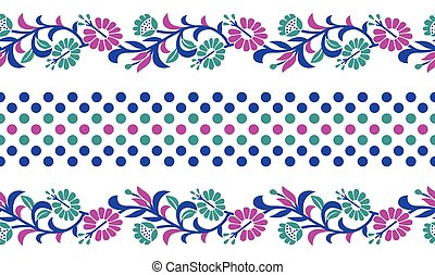 Seamless colorful floral border design
