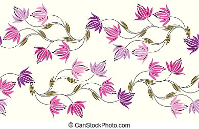 Seamless colorful floral border