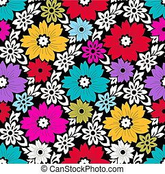 Seamless colorful floral pattern on black background