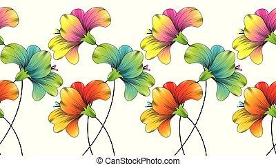 Seamless colorful flower border