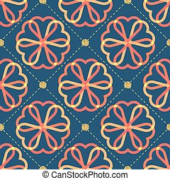 seamless colorful flower with gold dot glitter pattern on blue background