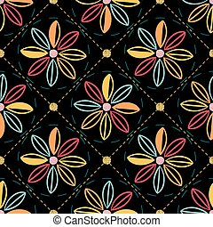 seamless colorful flower with polka dot glitter pattern on black background
