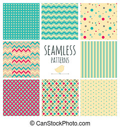 Seamless Colorful geometric background set.