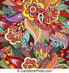 Seamless colorful Hand drawing doodle pattern - Seamless...