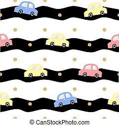seamless colorful hand drawn car with gold dot glitter...