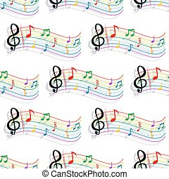 Seamless colorful music notes pattern