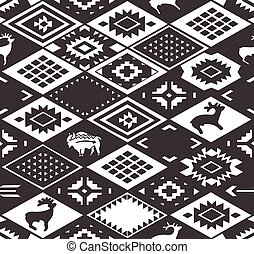 Seamless colorful navajo pattern with rhombus. Monochrom Pencil Drawing