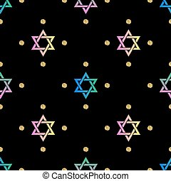 seamless colorful neon star pattern with gold dot glitter on black background