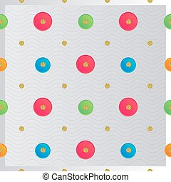 seamless colorful paper dot with gold glitter pattern background