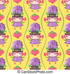 Seamless colorful pattern with Blackberry fruit girl. Vector background