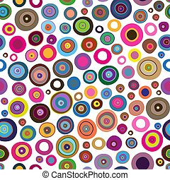 Seamless colorful pattern with painted rings and dots