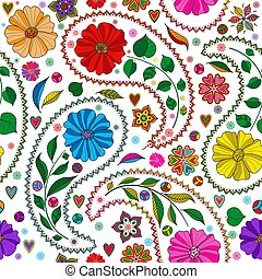 Seamless colorful pattern with paisley and flowers