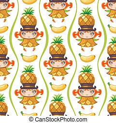 Seamless colorful pattern with Pineapple fruit girl. Vector background