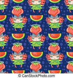 Seamless colorful pattern with Strawberry fruit girl. Vector background