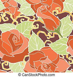 Seamless colorful pattern with stylized red, yellow roses abstract flowers.