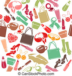 Seamless colorful pattern with woman's things