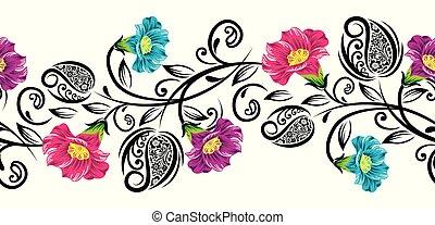 Seamless colorful rose flower border