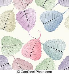 seamless colorful skeleton leaf background