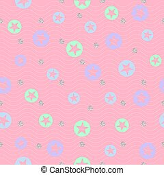 seamless colorful star with silver dot glitter pattern on pink background