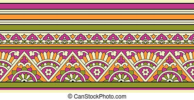 Seamless colorful tribal floral border