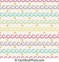 seamless colorful wave with gold dot glitter pattern background.